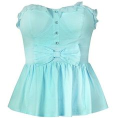 PEPLUM TOP WITH FRILL BOW