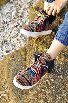 3f96300f81 Items similar to Vegan sneakers Mens   Womens Hi tops shoes in Tribal  pattern textiles