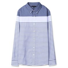 Topten10 Unisex Unique Dark Blue Striped Oxford Buttondown Cotton Dress Shirts #Topten10
