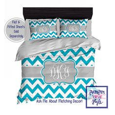 Custom Designed Chevron-Teal and Gray Bedding, Duvet or Comforter, Personalized, Create and Design Your Own Bedding by PAMPERYOURSTYLE on Etsy https://www.etsy.com/listing/202112525/custom-designed-chevron-teal-and-gray