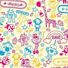 Wall Mural cute doodle