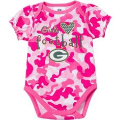 c7b0c583c Outfit your little fan in our pink camouflage print Green Bay Packers Onesie.  Featuring camo print and official Packers logos