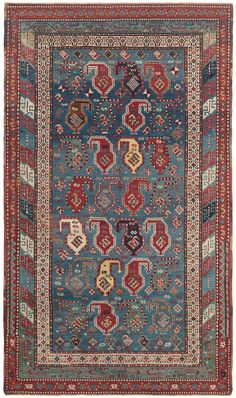 Caucasian Gendje, 5ft 0in x 8ft 0in, Circa 1875.  Extraordinary clarity of color and composition is the hallmark of this superb Gendje from the far reaches of the rugged Master Caucasus range. A richly dyed lazuline blue field, enhanced by extensive abrash (purposeful color striation) is the stage for an incredibly creative assortment of hooked boteh (sprouting seed motifs).