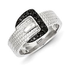 Sterling Silver 1/5 Carat Black Diamond Buckle Ring Available Exclusively at Gemologica.com