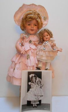 """c1935 Ideal """"Shirley Temple"""" Little Colonel movie costume dolls with photo of Shirley Temple,with a doll."""