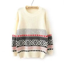 2016 Hot Sale Autumn And Winter Women Clothes Retro snowflake jacquard weave Long sleeve Set head Loose sweater Christmas W061(China (Mainland))