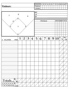 Printable Pdf Baseball Scorecard Lineup Count Sheets  Printable