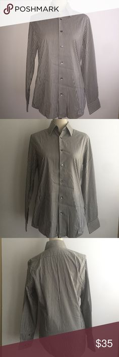Express 1MX Mens Button downs Size Small Size Small 14-14.5. Modern fit. Back white grey stripes. Long sleeve Express Shirts Dress Shirts
