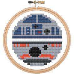 Star Wars R2D2 BB8 Cross Stitch DIY Kit, Pattern and Instructions