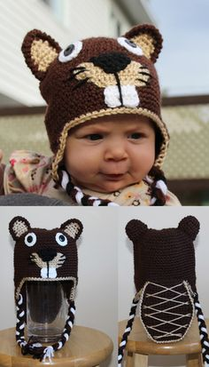 Buster the Beaver & Pants Set Lock up your Dams there's a hungry Beaver in town! Buster's hat flaps come down to ensure warmth with braided tassels. Buster's tail on the back of the hat is used to. Animal Hats, Crochet For Kids, Infant, Crochet Hats, Children, Handmade, Character, Animals, Pants