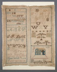Sampler from 1816. A beautiful example of a girl's needlework. This antique sampler was treated in the Conservation Studio of Spicer Art Conservation, where we specialize in the care and preservation of historic textiles.