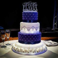Royal Blue Wedding Cakes, Blue Purple Wedding, Wedding Cakes With Cupcakes, Beautiful Wedding Cakes, Beautiful Cakes, Blue Birthday Cakes, Sweet 16 Birthday Cake, Fondant Cake Designs, Blue Wedding Decorations