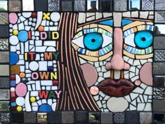 """I DID IT MY OWN WAY""  mixed media mosaic on board portrait art blue eyes fused glass assemblage contemporary modern art"
