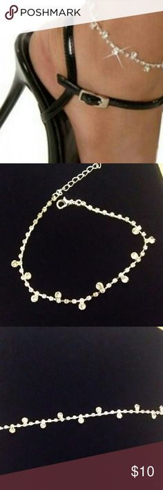 ankle anklet rope chain gold curled cuteness pin white bracelet inch