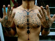 Hands and chest followhand style. Machine work. Fingers are handpoked.