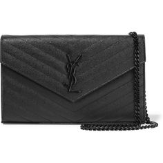 Saint Laurent Monogramme mini quilted textured-leather shoulder bag (5,345 AED) ❤ liked on Polyvore featuring bags, handbags, shoulder bags, black, black shoulder handbags, black shoulder bag, yves saint laurent handbags, quilted purse and quilted chain strap shoulder bag