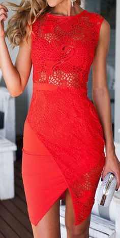 Coral Red Lace Bodycon Dress