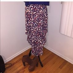 NWT flowy maxi skirt NWT flowy maxi skirt. Beautiful colors - blue, brown, black and cream. Pair with a crop or tank top for a perfect summer look! Size large in juniors. Love Culture Skirts Maxi