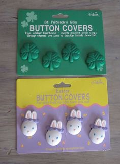 Gibson 2 Pack Button Covers St Patricks Day 4 Leaf Clover Easter Bunny Rabbits…