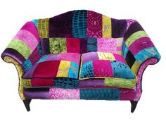 Bespoke Patchwork Sofas By Katie Moore Upholstery UK Patchwork 2 Seater Sofas in Designers Guild Fabrics Made to order in your own choice Funky Furniture, Unique Furniture, Furniture Decor, Painted Furniture, Colorful Chairs, Cool Chairs, Patchwork Chair, Beautiful Sofas, Upholstered Furniture