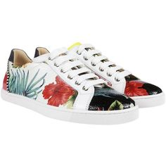 Christian Louboutin Sneakers (8,060 MXN) ❤ liked on Polyvore featuring shoes, sneakers, multicolored, round toe sneakers, multi color sneakers, round cap, striped sneakers and lacing sneakers