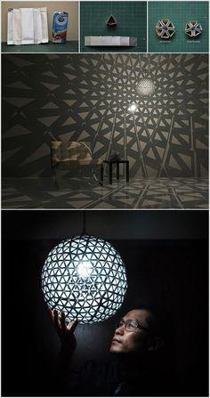 Anda juga bisa membuat lampu hias yang luar biasa kreatif ini dari karton susu bekas.