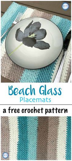 The Beach Glass Placemat crochet pattern uses Caron Cotton Cakes and the moss stitch to make simple yet beautiful placemats perfect for any season!  Enjoy my latest free crochet pattern! #caroncakes #caroncottoncakes #yarnspirations #crochetleflef