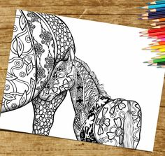 Do you love coloring horses? Adult Coloring Page For Grown Ups.  New horse coloring book coming soon on amazon. All your favorite horses images beautifully hand drawn.  https://www.etsy.com/listing/261620832/coloring-page-for-adults-print-and?ref=shop_home_active_1   You Can Pin Now View Later ;)  kleuren voor volwassenen