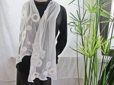 Felted scarf, nuno felt scarf, light scarf with silk, white, wedding, 90% silk, 10 percent wool, appr. 62 x 14.6 inches, felted