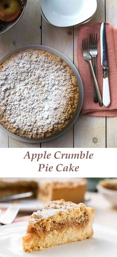 grandma's apple crumble pie cake | thehungrybites.com