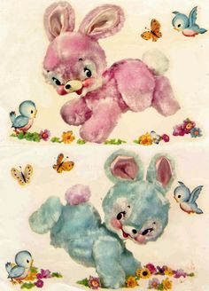Kitschy Meyercord bunnies 1950's with bluebirds. were these the fuzzy feeling birthday cards?
