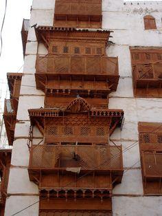 Wooden windows and balcony in Jeddah, Saudi Arabia