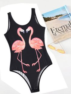 eb51311cfe8 Flamingo Print Backless Tank Bodysuit Фламинго Принт