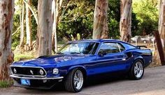 Electric blue 1969 Ford Mustang Mach 1 Fastback