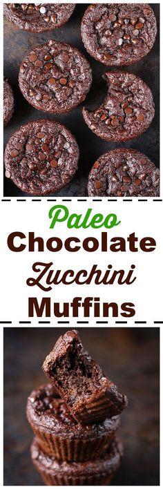 Paleo Chocolate Zucchini Muffins [ Gluten-Free / Dairy-Free]