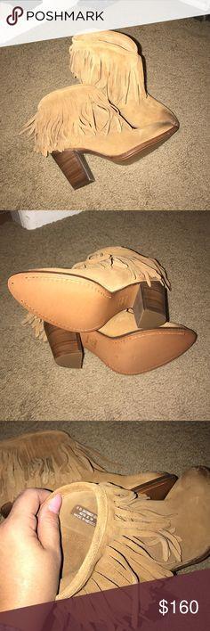 Brand new Frye fringe boogie Bought off of Poshmark and couldn't get them on so had them professionally stretched in the shaft, then realize they're just too high for my back. Frye Shoes Ankle Boots & Booties