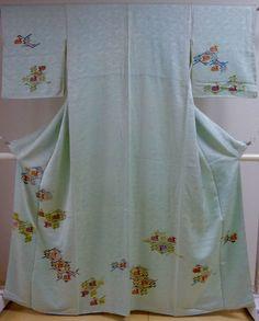 Kimono Dress Japan Awase Geisha costume Vintage Tsukesage 169P03S12