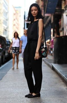 Street style NYC: the black jumpsuit