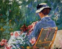 Lydia Seated in the Garden with a Dog in Her Lap- Mary Cassett