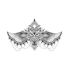 underboob owl tattoo