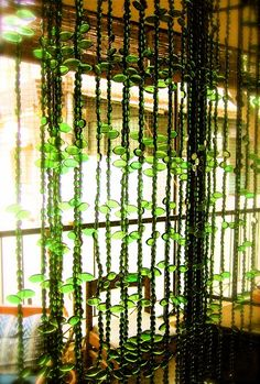 Boho beaded curtain. Pinned from: Dishfunctional Designs: Bohemian Emerald Inspiration