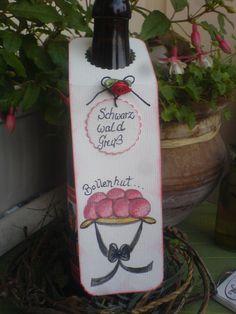 Flaschenanhänger mit Bollenhut *Aquarell*