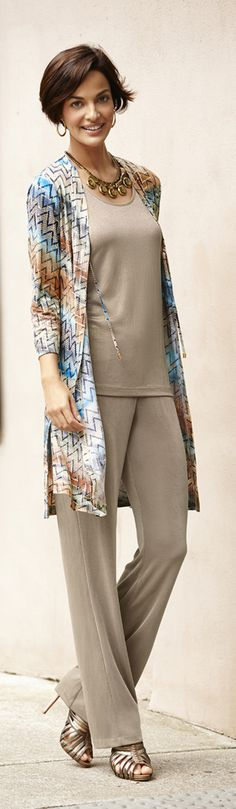 Great look! Chico's Travelers Collection Mirrored Chevron Tie-Front Duster.