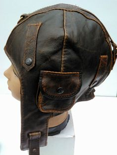 WWII Vintage style Handmade Genuine Leather Pilot, Aviator, Cabrio,, Motorcycle Helmet Hat Cap M size on Etsy, $36.94 CAD