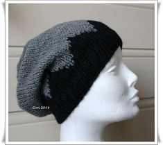 Free Knitting Pattern from Ravelry: Sik-sak-baggy-hat pattern by Guri Østereng Halvorsen. black and gray slouchy hat. Made one with super chunky yarn for a thick winter hat and I love it! So much that I'm making another lighter version for fall now.