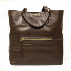 0ba3776f306f Miu Miu RR1820 Vitello Soft Brown Leather Shopping Tote Bag Soft Leather