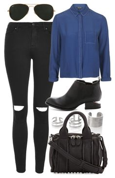 """""""Untitled #4021"""" by style-by-rachel ❤ liked on Polyvore featuring moda, Topshop, Alexander Wang y Ray-Ban"""