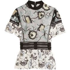 Self-Portrait Lucia embroidered tulle and printed crepe de chine top (£200) ❤ liked on Polyvore featuring tops, sheer floral top, white ruffle top, flutter-sleeve top, white embroidered top and embroidered top