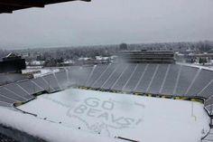 Autzen stadium, aka The Landfill, pwnd by #GoBeavs fans during spring snow storm 2012