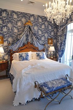 Blue toile bedroom Again adding warm wood tones to blue and white makes a bedroom more calming and inviting to me.